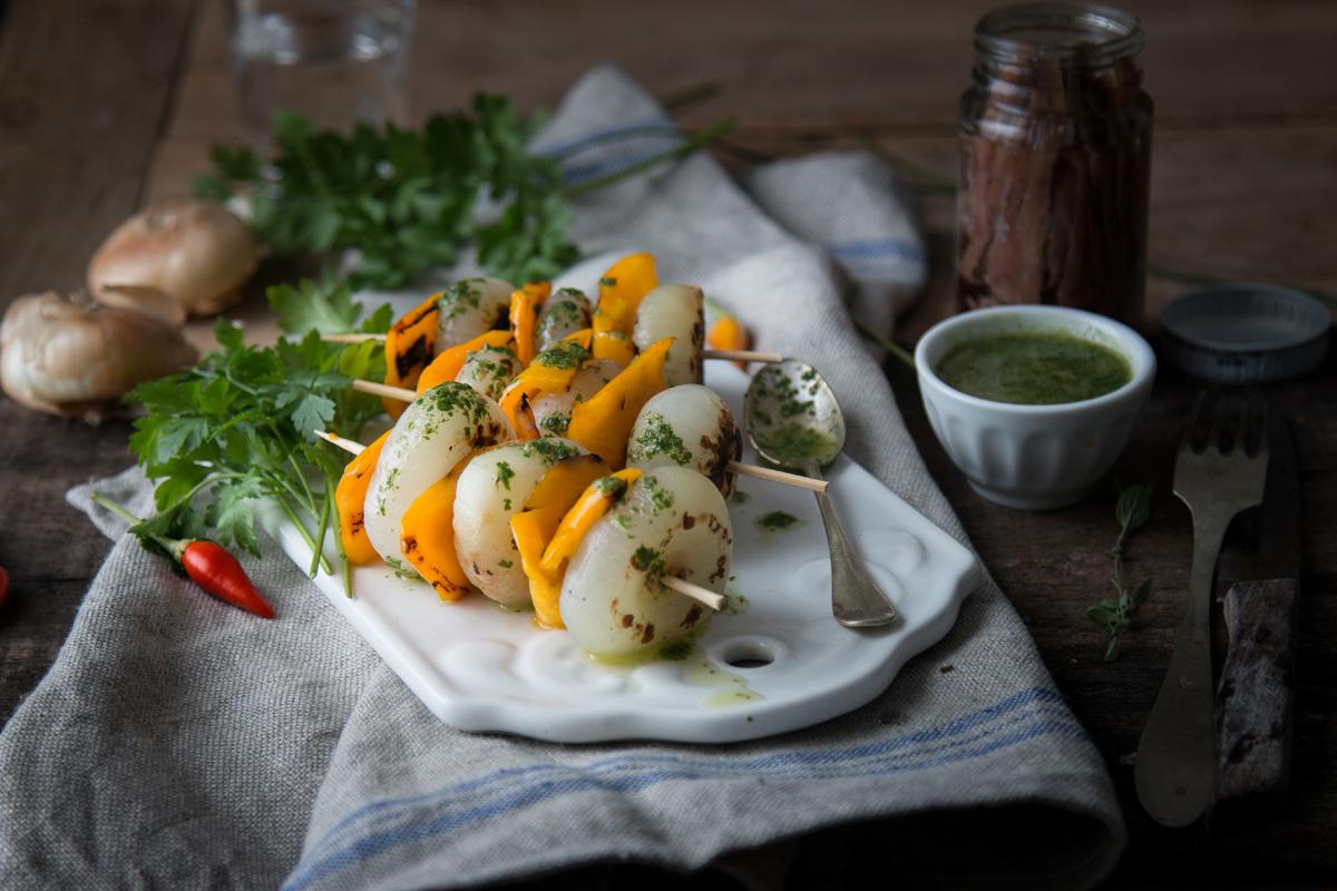 Cipolline Borettane e peperoni con salsa all'acciuga