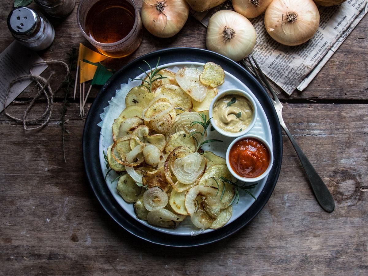 Chips di patate e Cipolline Borettane dell'Emilia